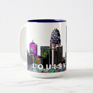 Louisville in graffiti Two-Tone coffee mug