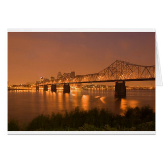Louisville Kentucky Night Lights Bridge Ohio River Card