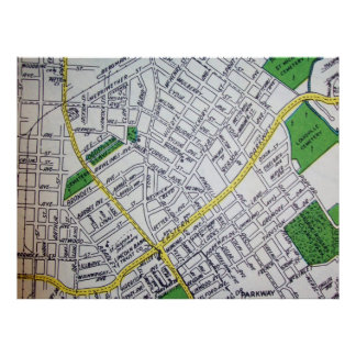 Louisville, KY Vintage Map Poster