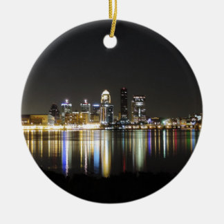 Louisville skyline at night ceramic ornament