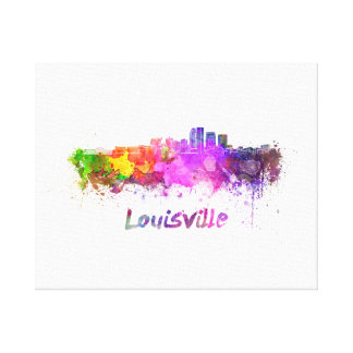 Louisville skyline in watercolor canvas print