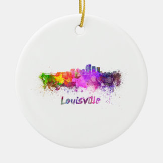 Louisville skyline in watercolor ceramic ornament