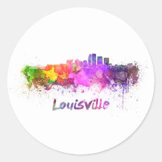Louisville skyline in watercolor classic round sticker