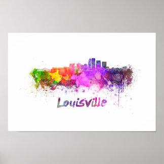 Louisville skyline in watercolor poster