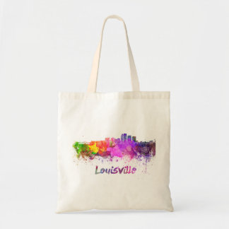 Louisville skyline in watercolor tote bag