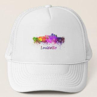 Louisville skyline in watercolor trucker hat