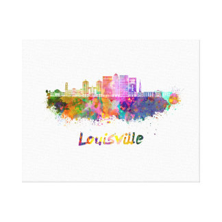Louisville V2 skyline in watercolor Canvas Print