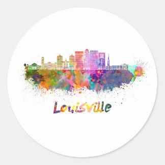 Louisville V2 skyline in watercolor Classic Round Sticker
