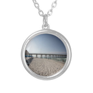 Lounge Chairs at Panama City Beach Pier Silver Plated Necklace
