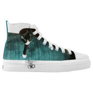 Lounging Cat Hi-top Sneaker Printed Shoes
