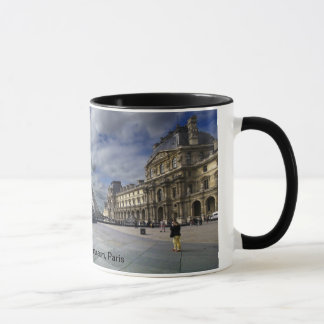 Louvre Pyramid and Museum in Paris. Mug