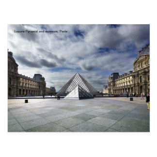 Louvre Pyramid and Museum in Paris. Postcard