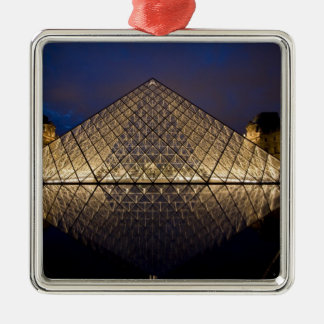 Louvre Pyramid by the architect I.M. Pei at Silver-Colored Square Decoration