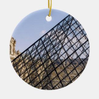 Louvre Pyramid Closeup, Paris Round Ceramic Decoration