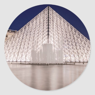 louvre pyramid france paris at night classic round sticker