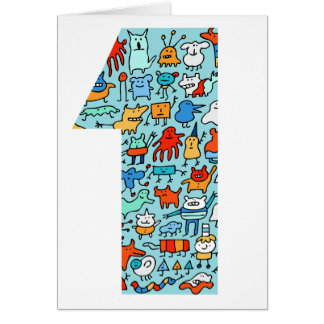 Lovable Little Monsters Number One Birthday Card