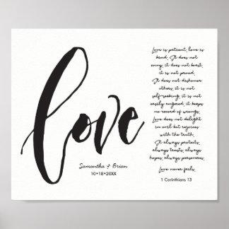 Love, 1 Cor. 13, Couple Name, Modern Script Poster