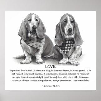 LOVE: 1 CORINTHIANS 13: BASSET HOUNDS, PENCIL POSTER