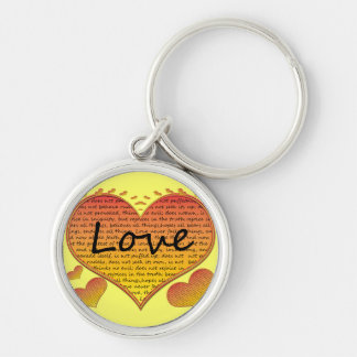 Love 1 Corinthians 13 Hearts Silver-Colored Round Key Ring
