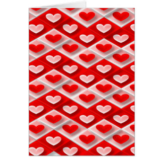 love-581582  RED PINK WHITE HEART DECORATIVE PATTE Card