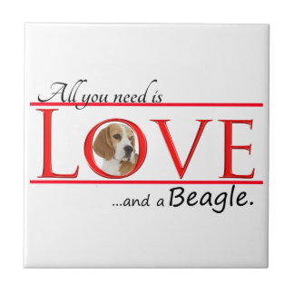 Love a Beagle Ceramic Tile