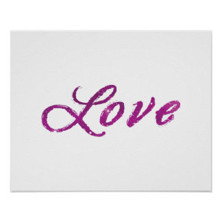 'Love' Abstract Pink and Purple Universe Poster