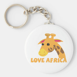 love africa with cute lieel giraffe basic round button key ring