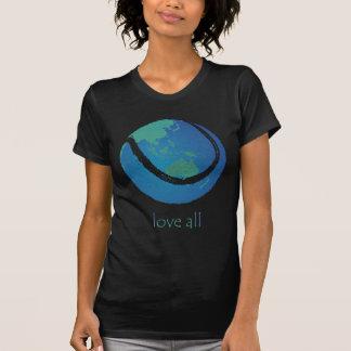 LOVE ALL ladie's tennis world globe design T-Shirt