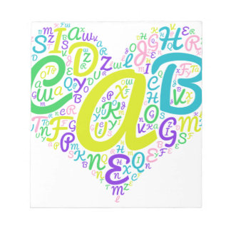 love alphabet notepad