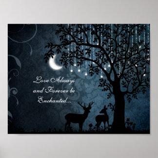 Love Always Enchanted Moon, Lights, Tree and Deer Poster
