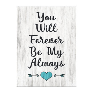 Love Always Forever Barnwood Wall Art Gallery Wrapped Canvas