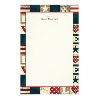 Love America Patriotic 4th of July Stationery Design