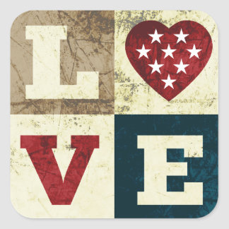 Love America Patriotic Stickers Square Sticker