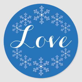 Love Among the Snowflakes Blue and White Round Sticker