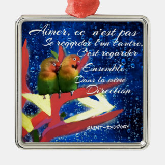 Love , Amour, message Metal Ornament