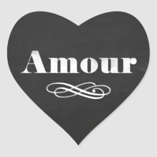 Love Amour White Chalk Chalkboard Heart Sticker