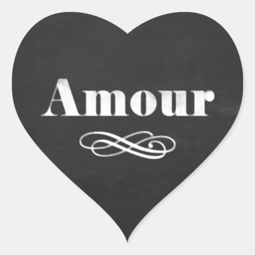 Love Amour White Chalk Chalkboard Heart Stickers