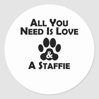 Love And A Staffie Classic Round Sticker