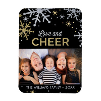 Love and Cheer   Silver Gold Photo Magnet