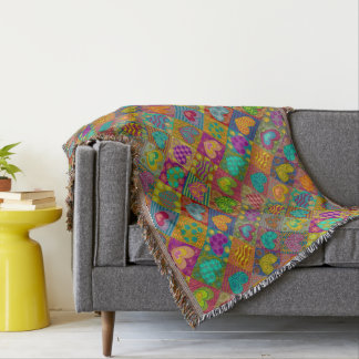 Love and couple. Decorated hearts Throw Blanket