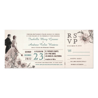 """Love and Daisies Vintage Wedding Invite and RSVP 4"""" X 9.25"""" Invitation Card"""