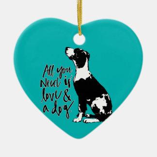 Love and Dog Ceramic Ornament