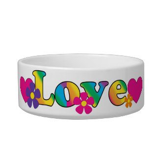 Love and Flowers Bright Colors 60s Hippie Design Bowl
