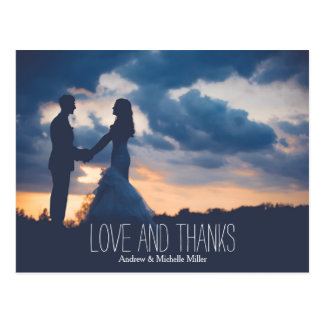 Love and hanks wedding thank you postcard