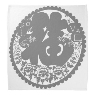 LOVE and HAPPINESS Beautiful Asian Style Design Kerchiefs