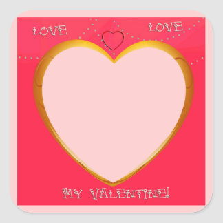 Love and Heart Frame Add Your Photo Square Sticker
