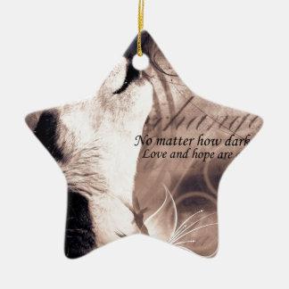love and Hope Siberian husky Ceramic Ornament