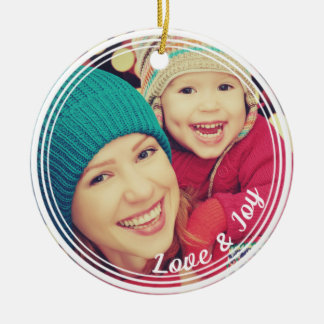 Love and Joy Frame Custom Keepsake Photo Christmas Round Ceramic Decoration