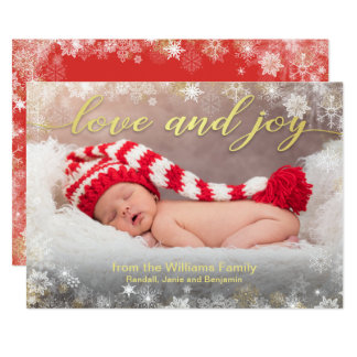 Love and Joy Holiday Photo with Snowflake Border Card