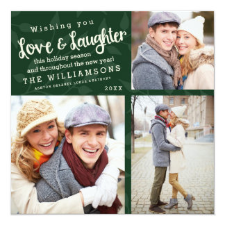 Love and Laughter Holiday Photo Card / Green